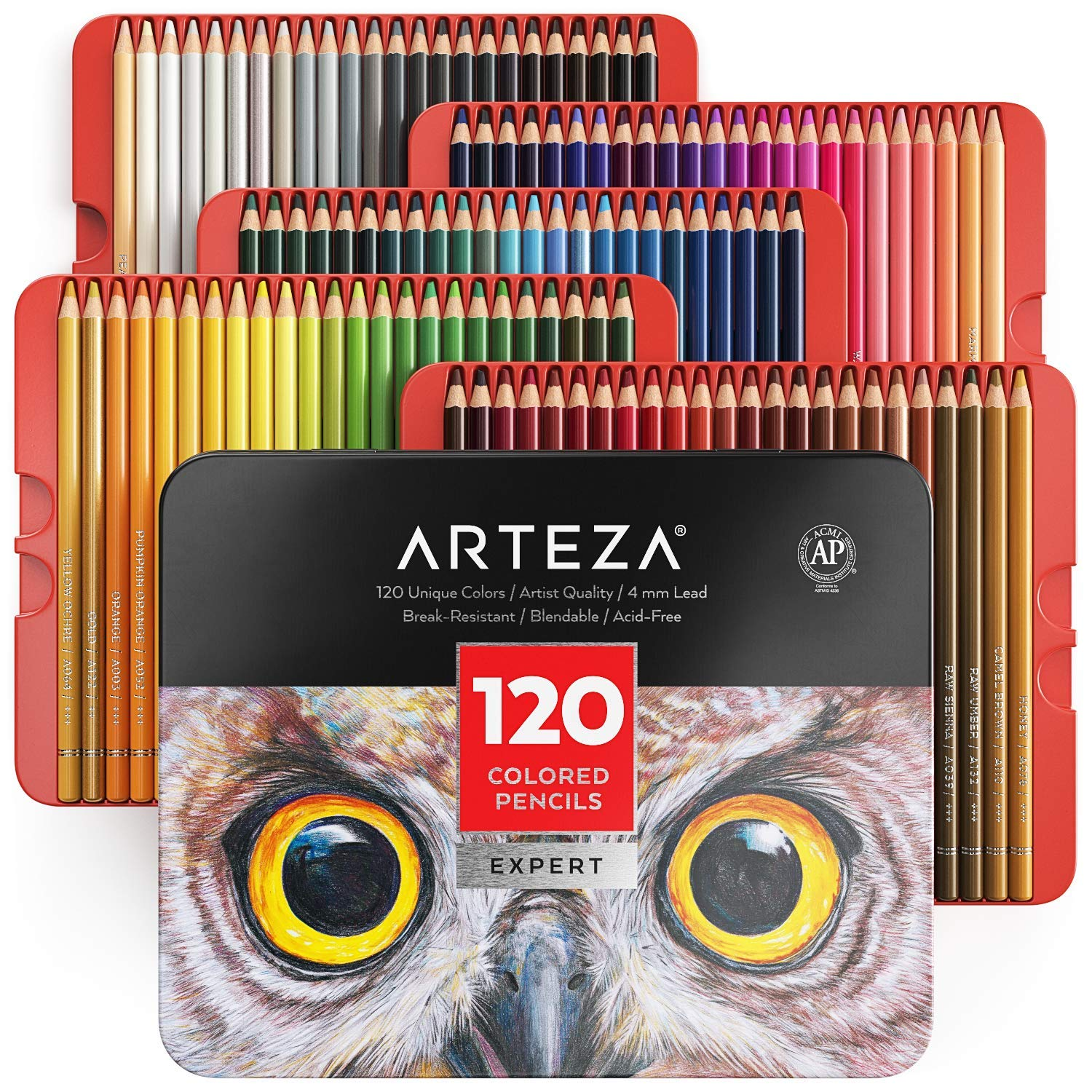 Arteza Professional Colored Pencils, Set of 120 Colors, Soft Wax-Based Cores, Art Supplies for Drawing Art, Sketching, Shading & Coloring, Vibrant Artist Pencils for Beginners & Pro Artists in Tin Box