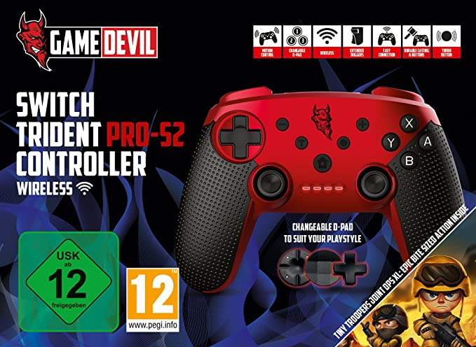 Game Devil - Trident Pro-S2 Wireless Controller, Color Rojo ...