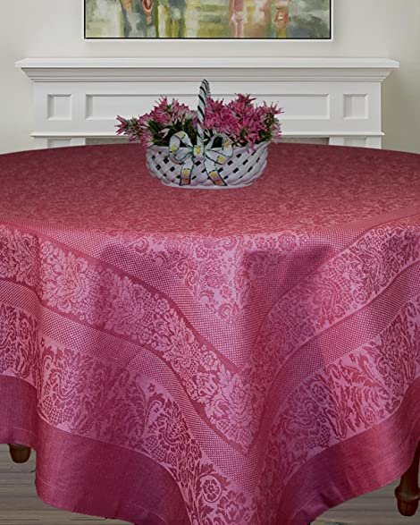Armani International Rectangle Tablecloth 70 X 90 Inch Chateau Rose | Made  In Europe