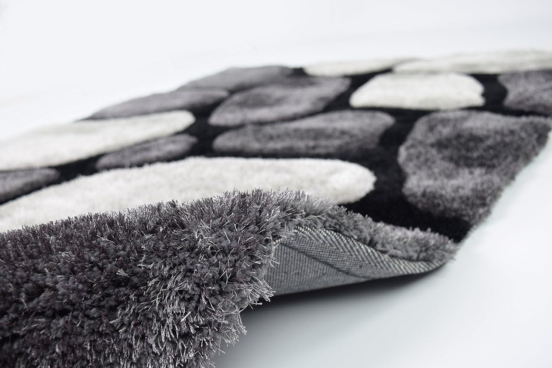 Ahoc Extra Large Black Grey Thick Soft Sumptuous 3d Deep Textured Karpet Shaggy Premium 160x230 Turkiye Shag Pile Pebble Stepping Stones Rug 150x230cm 5x8