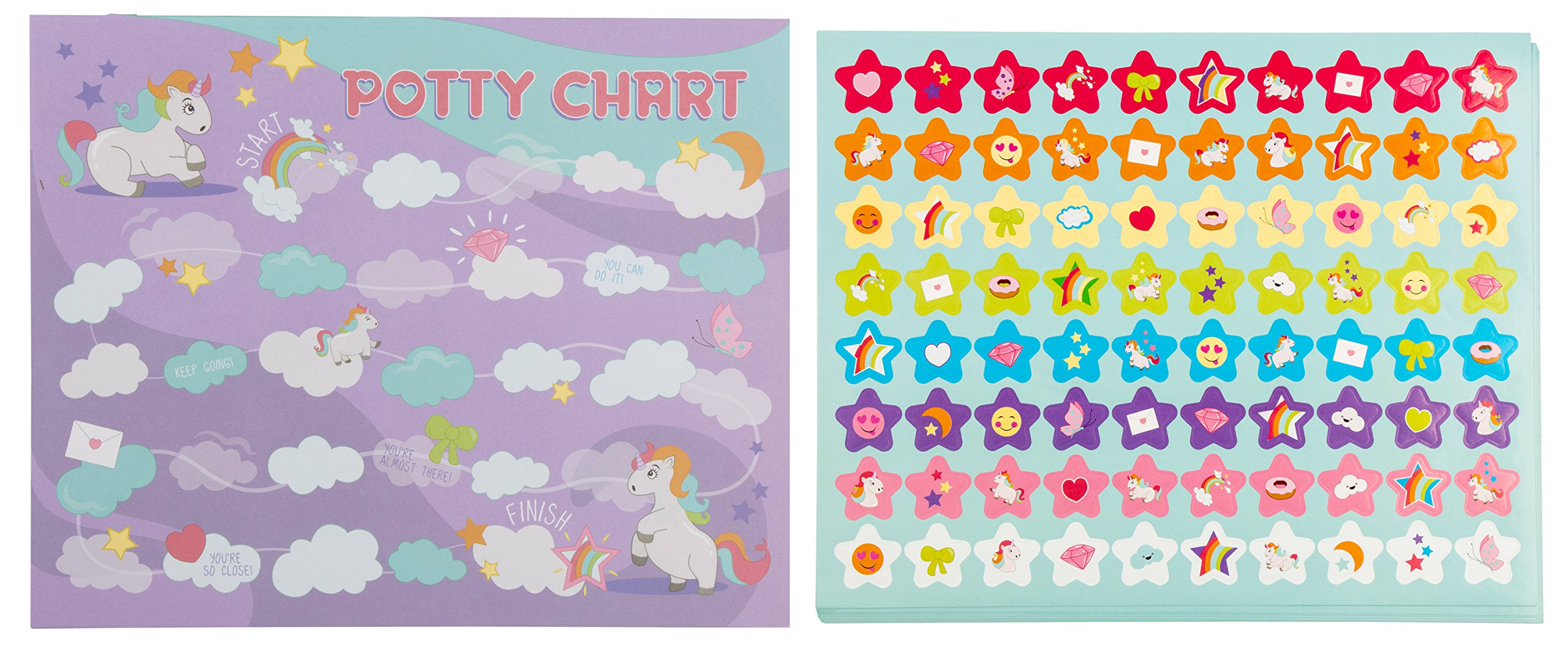 Blue Panda Potty Training Reward Chart - Pack of 50 Sheets and 800 Stickers, Cute Colorful Unicorn Themed Toilet Training Kit for Girls, Motivational and Positive Reinforcement, 10.3 x 8.3 inches