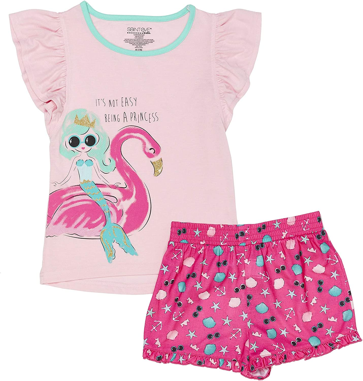 St Eve Girls Big Mermaid 2 Piece Jersey Short Pajama Set