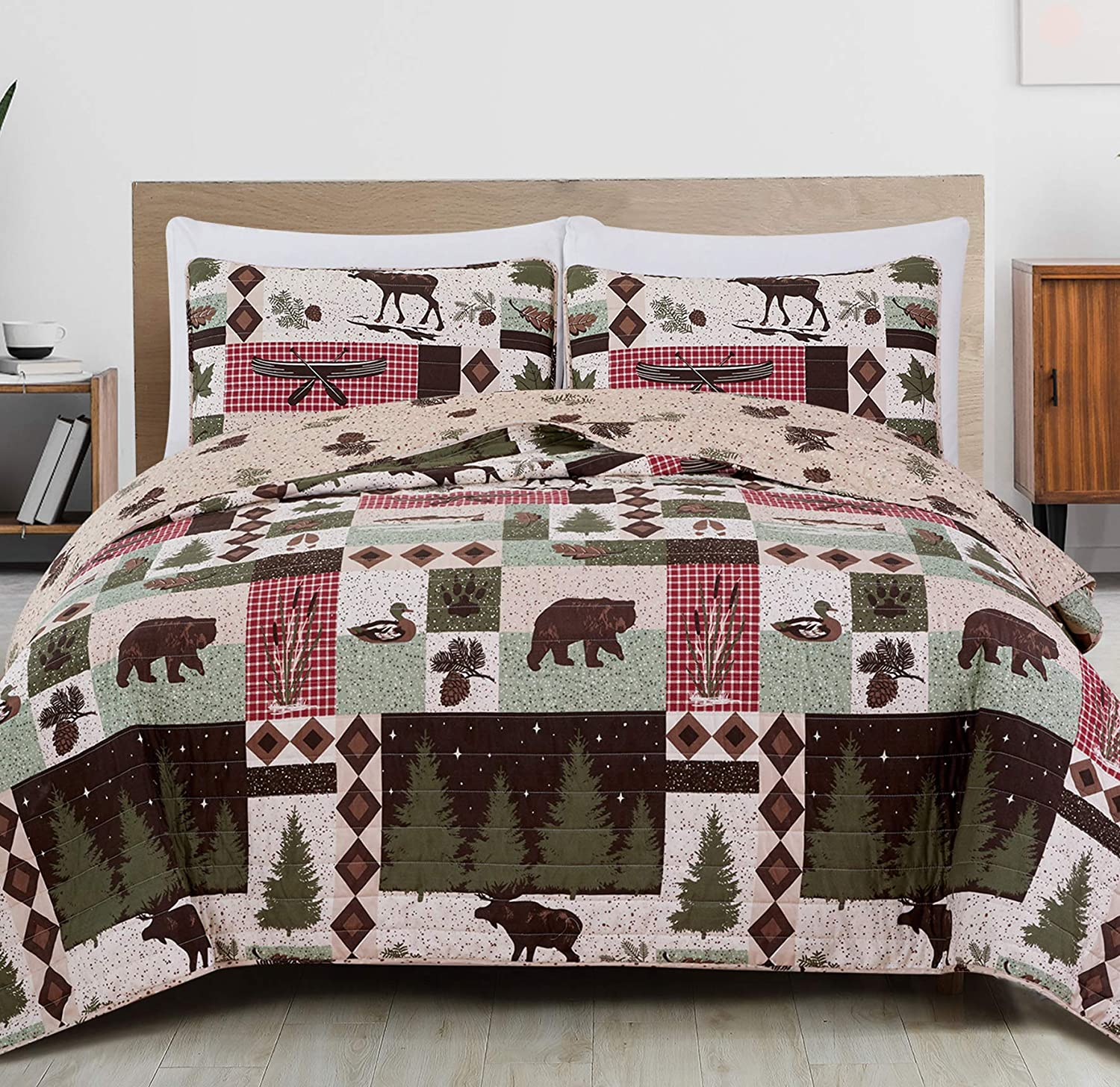 Great Bay Home 3-Piece Reversible Rustic Lodge Bedspread Full/Queen Size Quilt with 2 Shams. All-Season Quilt Set. Wilder Collection (Full/Queen)