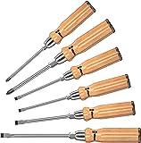 Wera 930/955/6 Schraubendrehersatz, Schraubendrehermit Holzgriff, Schlagkappe und Schlüsselhilfe, 6-teilig, 05137810001