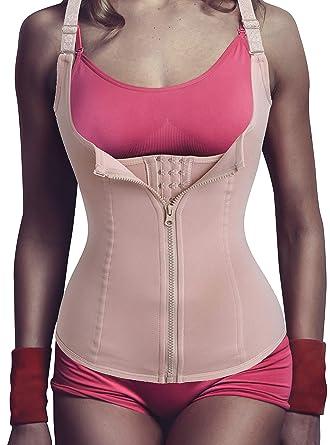 00b92d3d492b5 Newbby Women Steel Boned Weight Loss Waist Trainer Corset Hourglass Body  Shaper Cincher Vest with Zipper