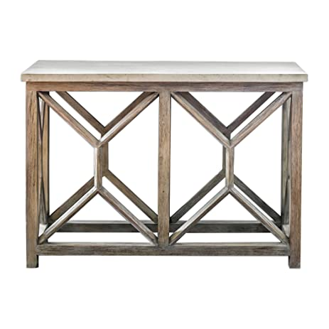 Open Light Weathered Wood Console Table | Stone Top X Natural