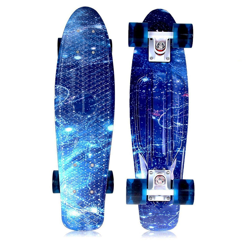 Solomone Cavalli Retro Skateboards Mini Board Style Design Complete 22'' Plastic Cruiser Board