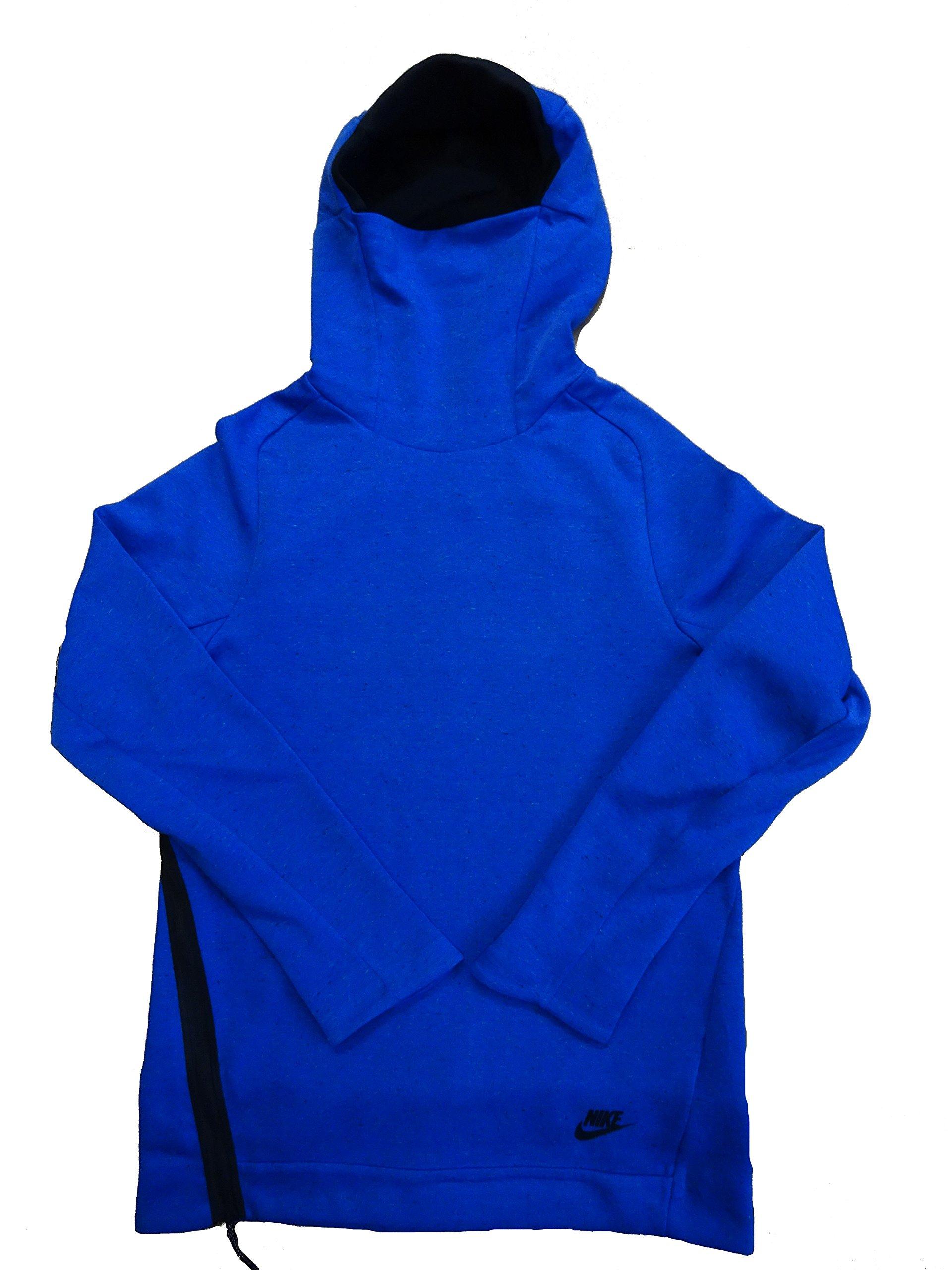 Nike Sportswear Mens Tech Fleece Funnel Neck Pull Over Hoodie 805214 Jacket (Large, Blue Black 402) by NIKE
