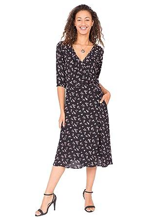 756bb7db22 Amazon.com  likemary Ruffles Wrap Dress Midi Length  Clothing