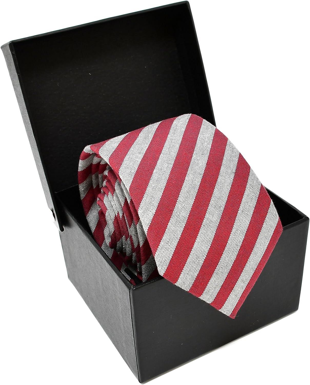 Oxford Collection Corbata de hombre Rojo y Gris a Rayas - 100 ...