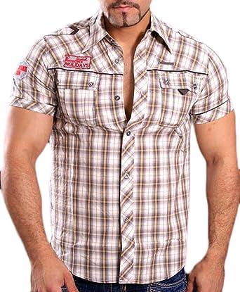 Gov Denim Hombre Camisa De Cuadros de Manga Corta Slim Fit Polo Cuadros Camiseta Beige 8305: Amazon.es: Ropa y accesorios
