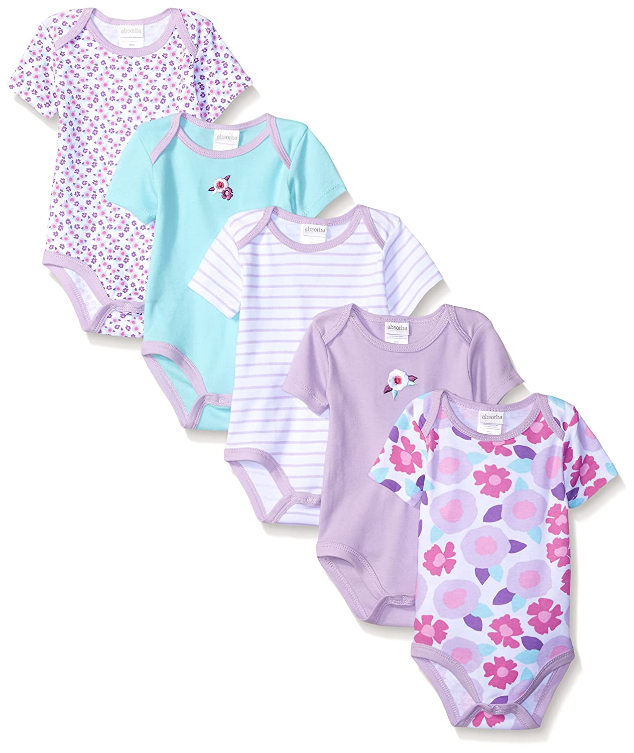 cb563cae1f0c Amazon.com  absorba Baby Girls  5 Pack Body Suits