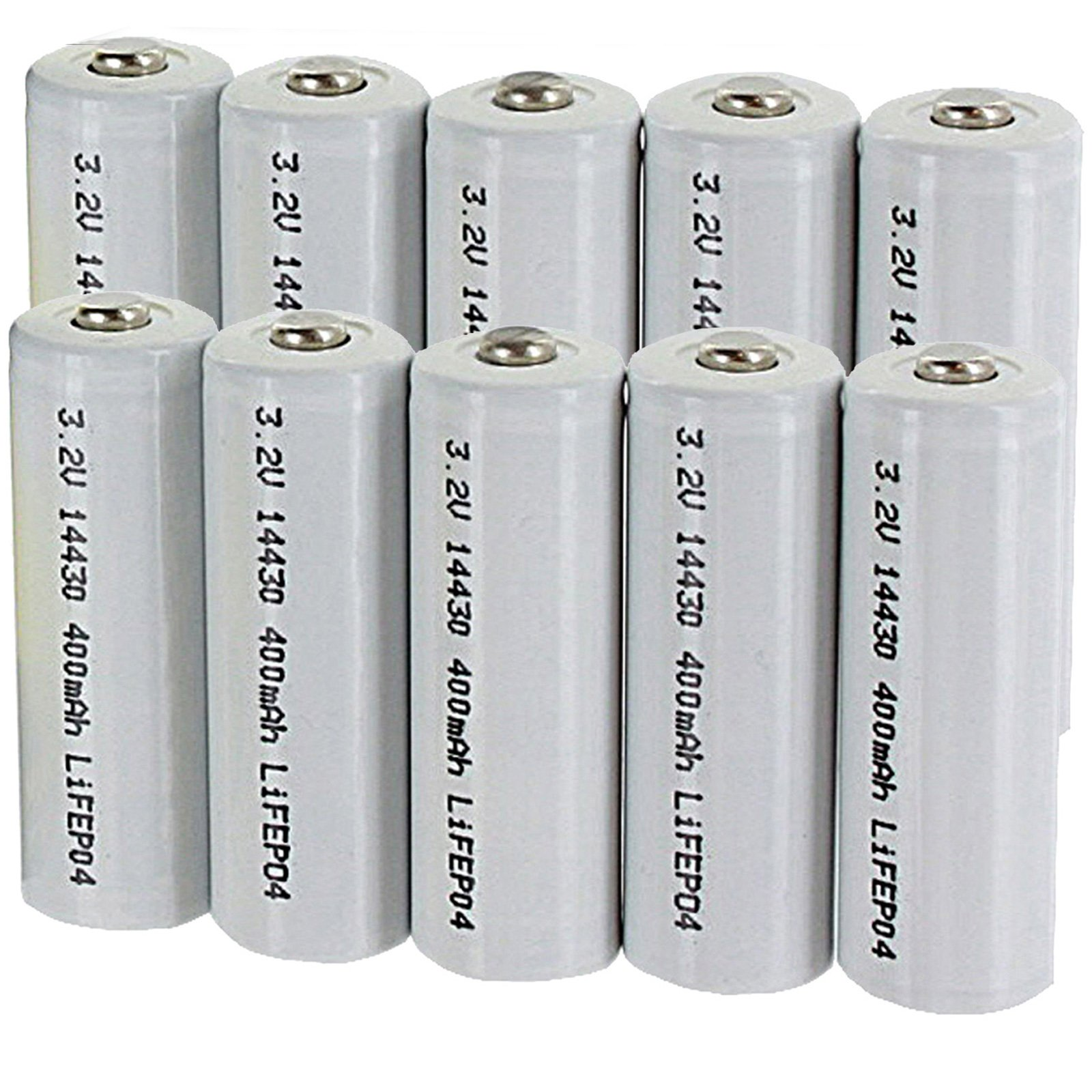 10pk 3.2V 400mAh Li-FePO4 Size 14430 Rechargeable Batteries For Solar Lights Garden Lights , Security System Panels, LED Flashlights FAST USA SHIPPING
