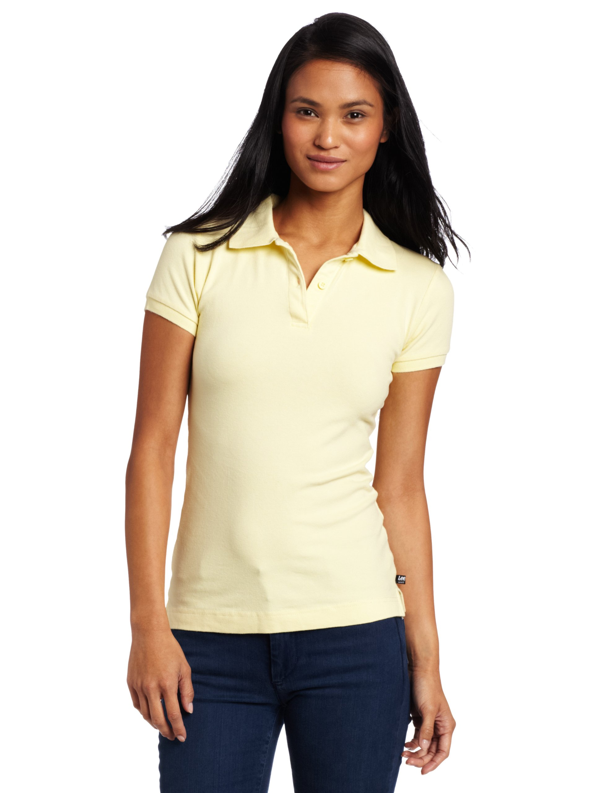 Lee Uniforms Juniors Stretch Pique Polo, Yellow, Medium by LEE
