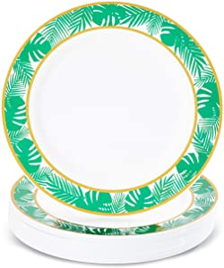 24 Pack of Tropical Palm Leaves Dinner Plates for Luau and Hawaiian Party (9 In)