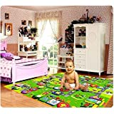 LooMantha 100% Waterproof, Anti-Skid, Double Sided Baby Play & Crawl Mat (6'X4' Feet) with a Free Carry Bag.