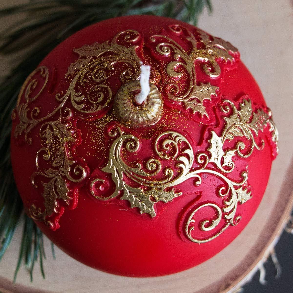 holzalbum Festtagskerze Wachs 3D Motiv Weihnachtskerze Kugelkerze /Ø 10 cm Adventskerze