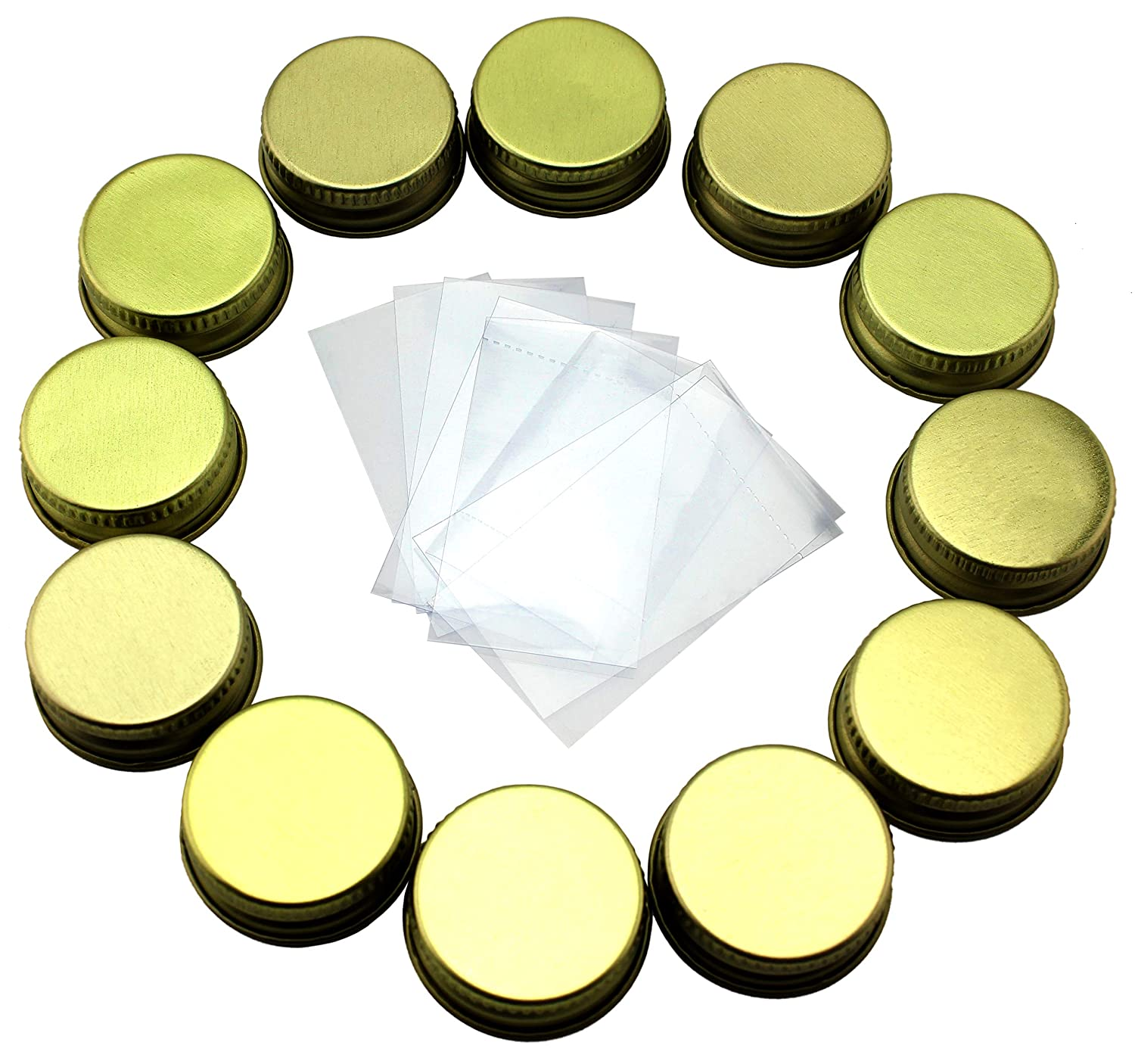 28-400 Replacement Caps & Shrink Bands for Syrup Bottles (12-Pack / 24-Pieces); Fits 8oz & 12oz Glass Syrup Bottles