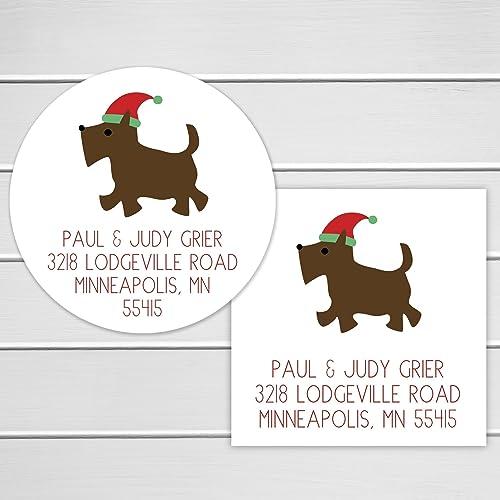 amazon com christmas address stickers santa hat dog return address