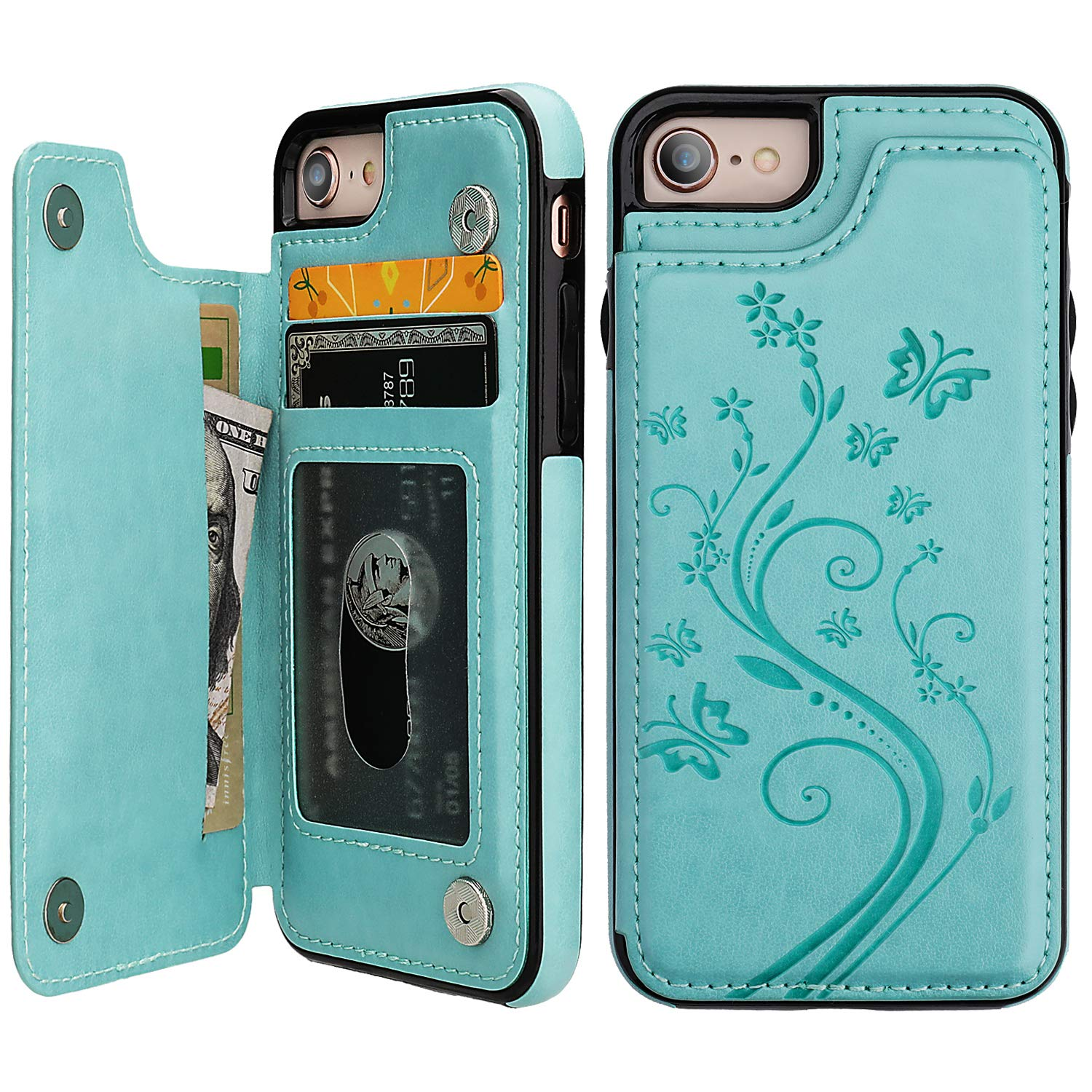 iPhone 7 iPhone 8 Case Wallet with Card Holder, Vaburs Embossed Butterfly Premium PU Leather Double Magnetic Buttons Flip Shockproof Protective Cover for iPhone 7 iPhone 8 Case(Mint Green) by Vaburs