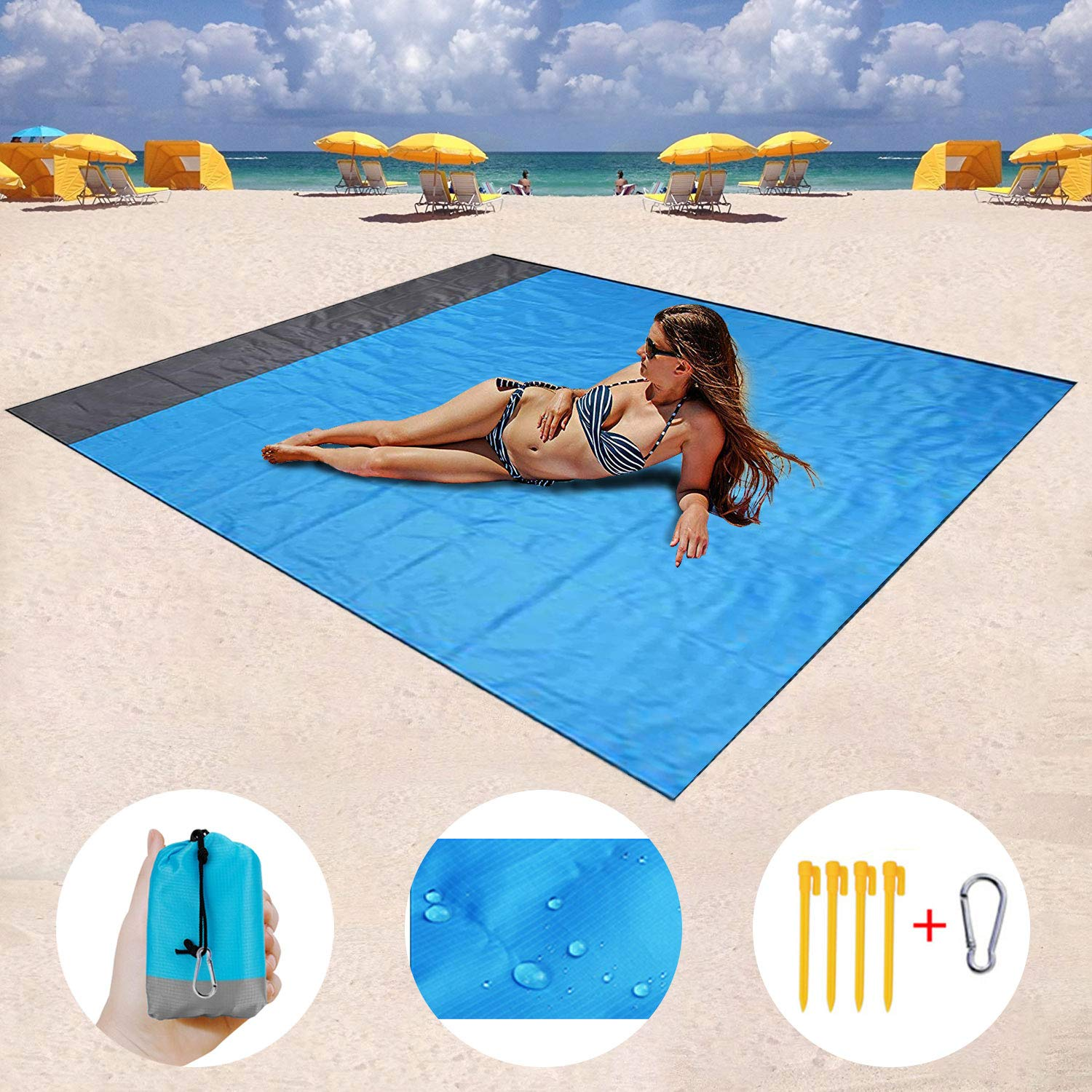 82 X79 Quick Drying Ripstop Nylon Compact Outdoor Picnic Beach Mat Best Sand Proof Picnic Mat for Travel Camping Hiking and Music Festivals Mumu Sugar Sand Free Beach mat