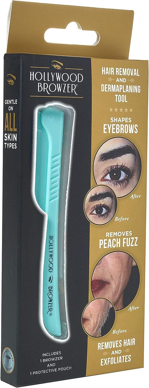 Hollywood Browzer Maquinillas de afeitar dermaplaning para rostro, moldeador de cejas, eliminación de vello no deseado, herramienta exfoliante para mujer (Bolsa protectora incluida) Azul turquesa