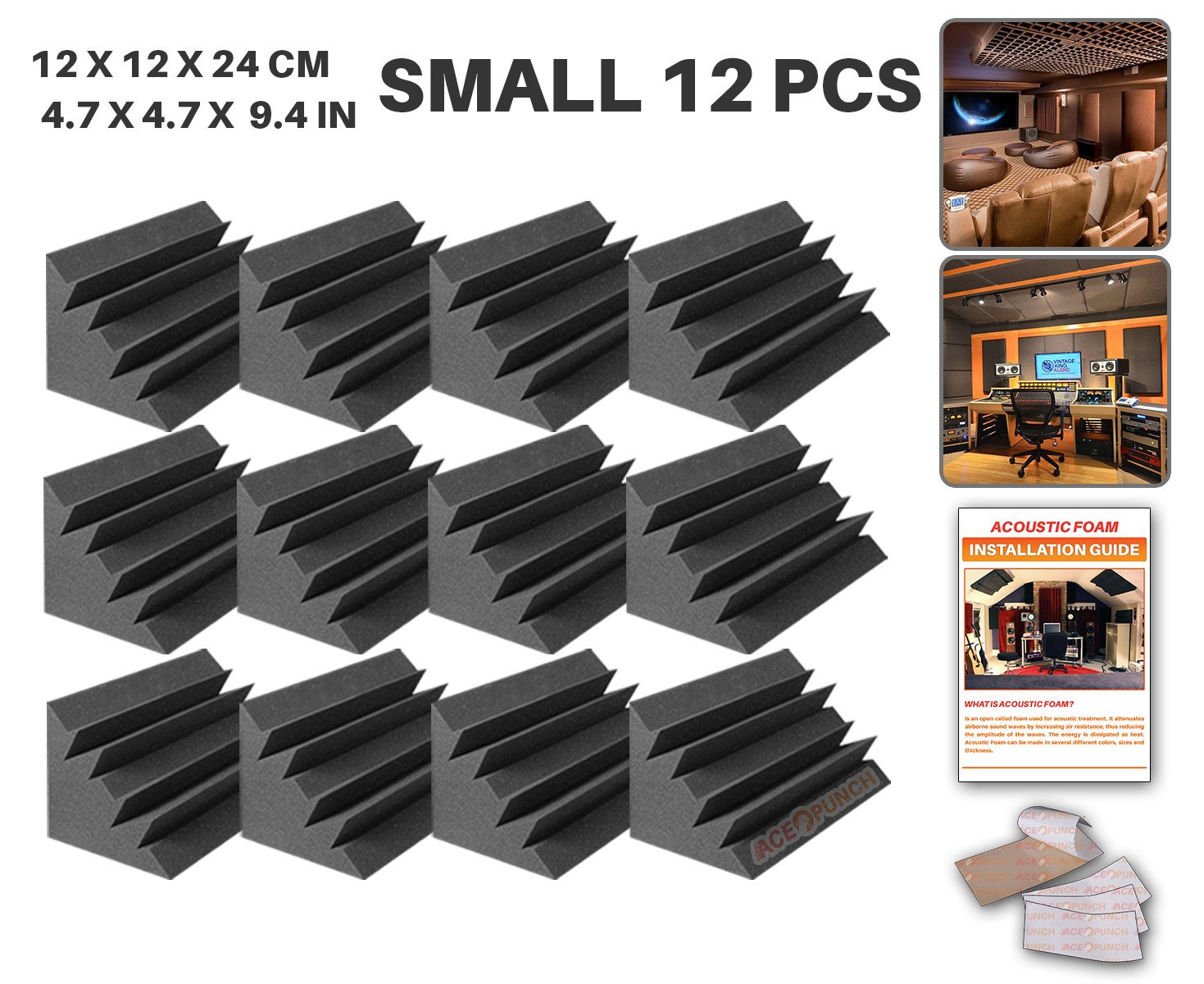 Ace Punch 12 Piezas Trampa de Graves Aislamiento Acústica Estudios Profesionales Espuma Conjunto Libre Cinta Adhesiva 12 X 12 X 24 cm (4.7 X 4.7 X 9.4 in) AP1133