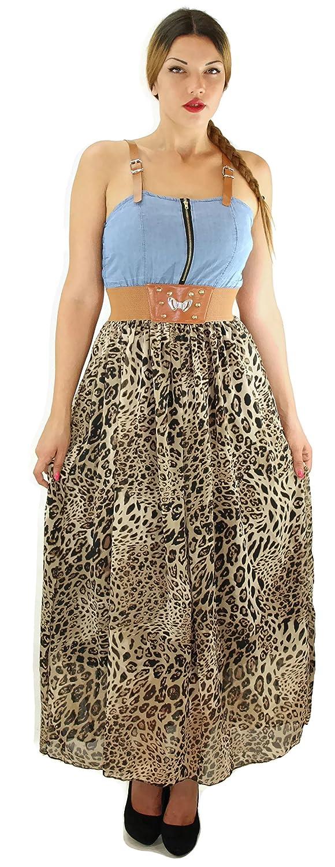 # 685 Damen Kleid Sommerkleid Partykleid Maxikleid Leoparden Look Onesize 34 36 38