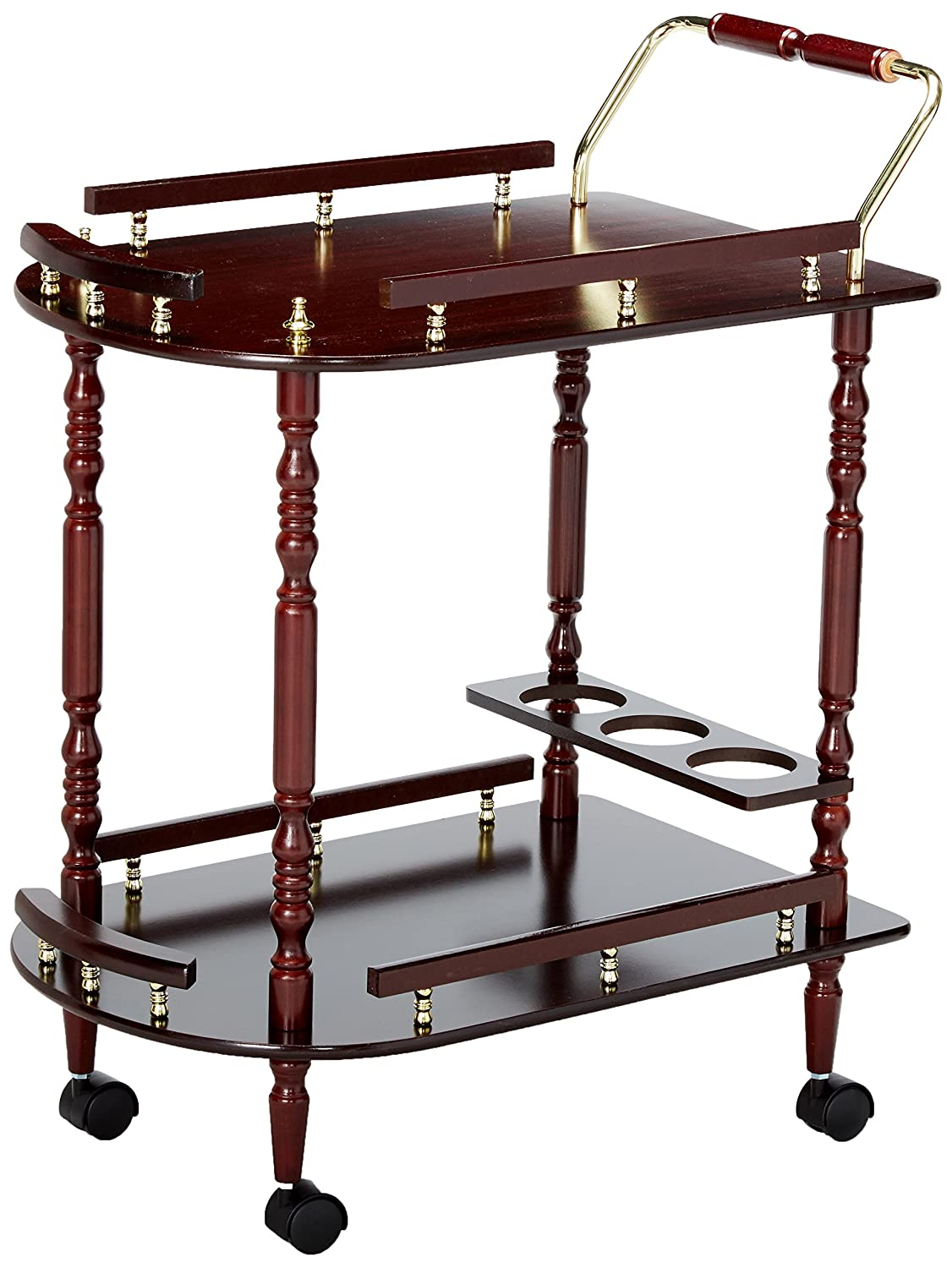 f36e7568bfb1 Serving Cart with Brass Accents Merlot and Brass