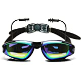 Ipow Mirrored Anti-fog Uv Protection Swim Swimming Goggles/mask with Silicone Soft Ear Plugs- Waterproof and Focus on Swimming and 3 Pieces Adjustable Nose Bridge Suitable for Different Size of Face + Premium Goggle Case for Men and Women