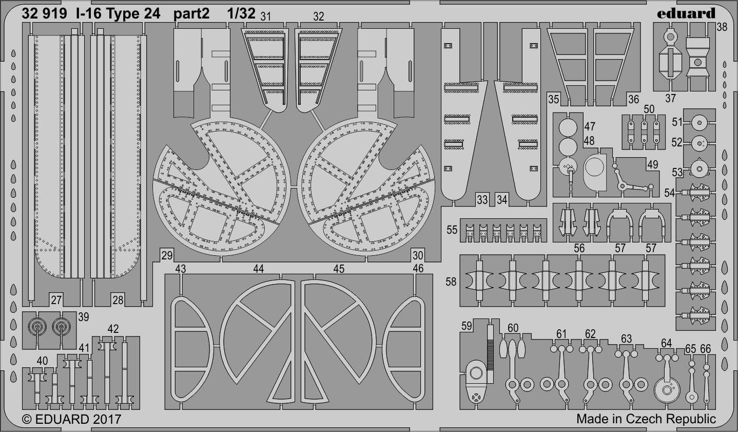 Photo-Etched Accessories Eduard EDBIG3386 Big Ed Set 1:32-Polikarpov I-16 Type 24 ICM Various