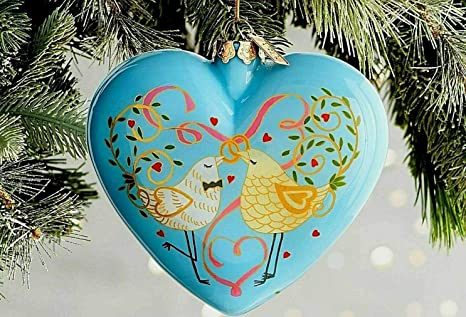 Pier 1 Christmas Ornaments.Amazon Com Pier 1 Imports Li Bien Glass 2018 Dated 4 Heart