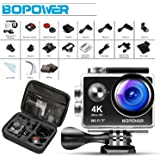 2018 GooBang Doo 4K WIFI Sports Action Camera Ultra HD 16MP Waterproof DV Camcorder 170 Degree Wide Angle 2 Inch LCD Screen / 2.4G Wireless Remote Control/ 2 Pcs Rechargeable Batteries/ 19 Mounting Kits/Portable Carrying Bag