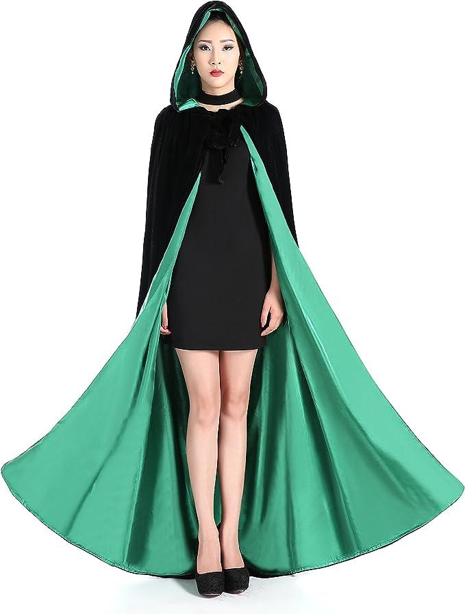 Fenghuavip Full Length Satin Halloween Smock Wicca Hooded Cloak Wedding Capes