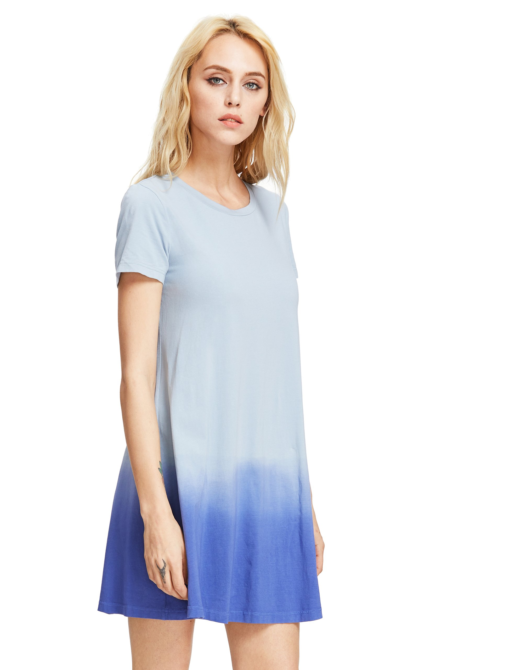 38092f5ec3fef Romwe Women's Tunic Swing T-Shirt Dress Short Sleeve Tie Dye Ombre Dress  Blue S