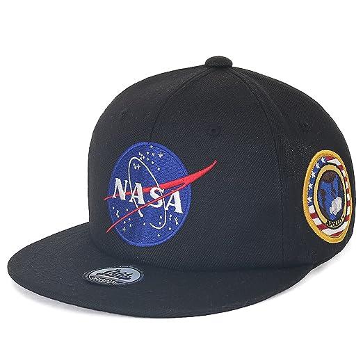 b2f5792e192 ililily NASA Meatball Logo Embroidery Baseball Cap Apollo 1 Patch Flat Bill  Hat