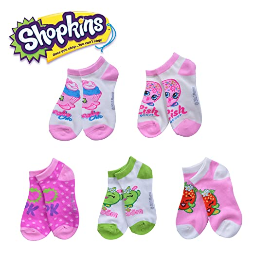 dca71a61a57 Amazon.com  Shopkins Girls Designed No Show Socks - 5 Pack Cupcake   Apple    Strawberry - Size 6 - 8.5  Clothing