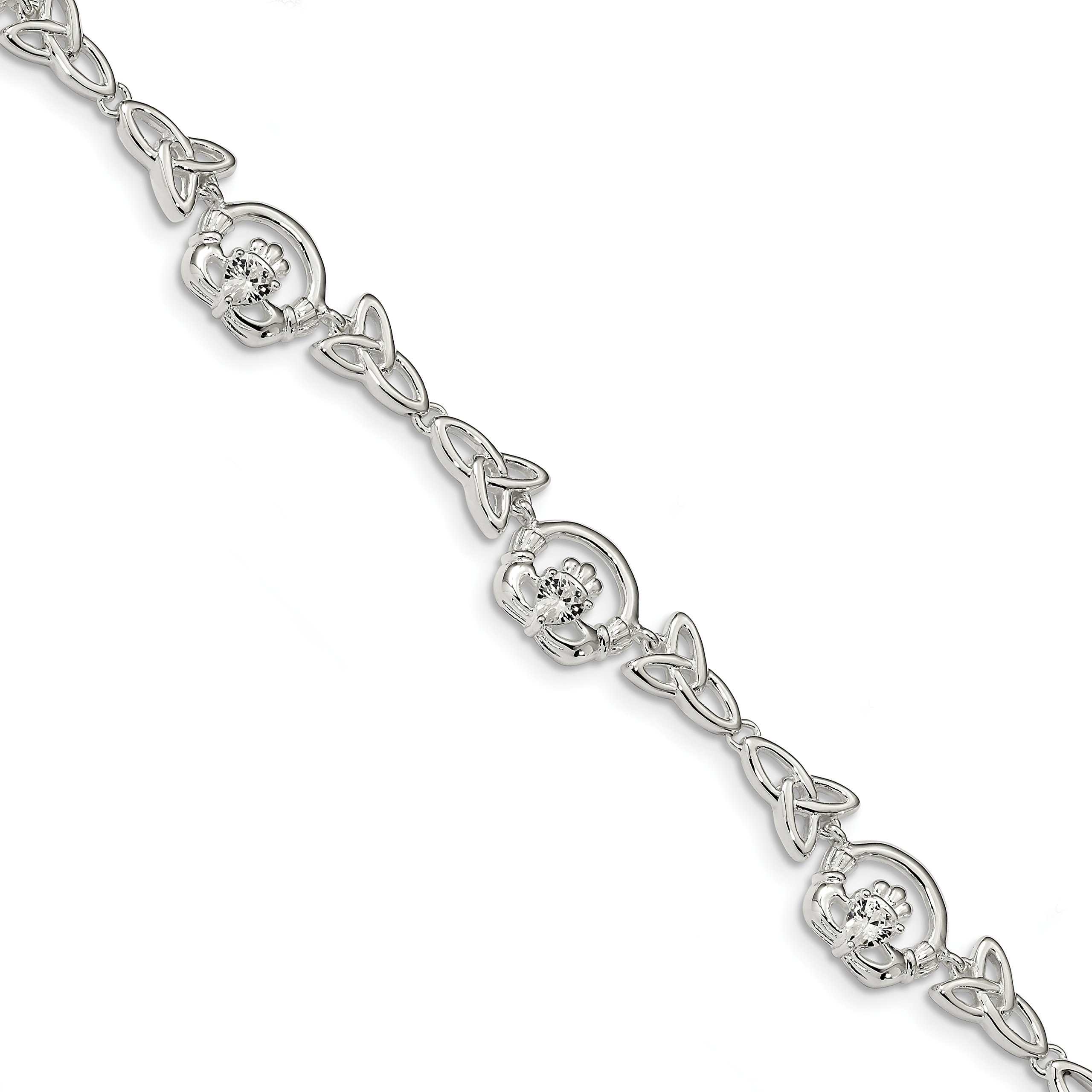 ICE CARATS 925 Sterling Silver Cubic Zirconia Cz Clauddagh/trinity Symbol Link Bracelet 7 Inch Celtic Claddagh Fine Jewelry Gift Set For Women Heart by ICE CARATS (Image #1)