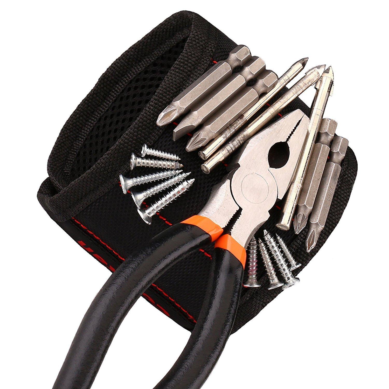 Pulsera Magnética Con 15 Imanes Fuertes Para Sujetar Objetos de Metal Tornillos, Clavos, Brocas, Ajustable a La Medida de La Muñeca de Cookan (Negro)