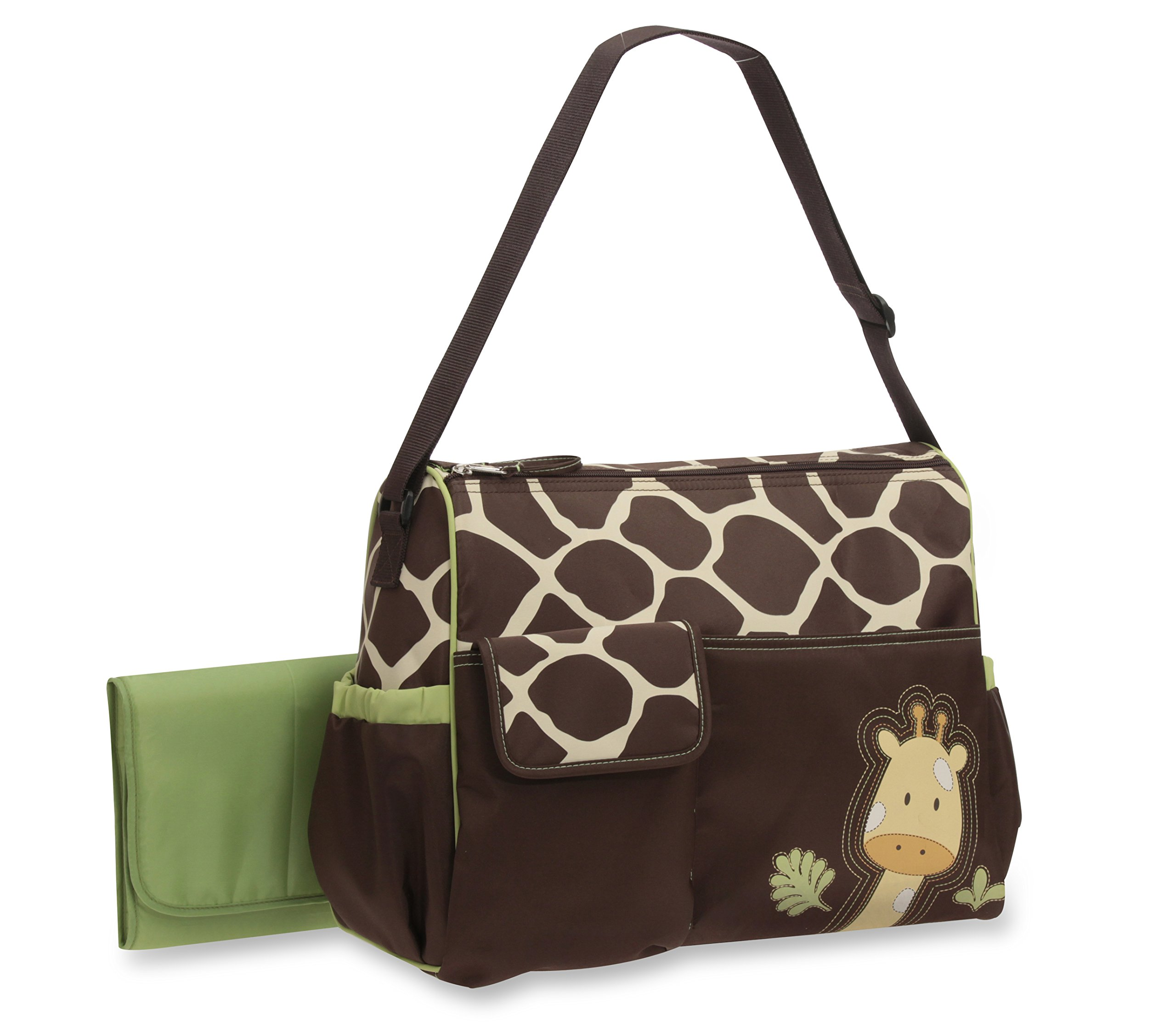 Baby Boom Animal Print Collection - Forest Giraffe Print Diaper Duffel Bag - Large, Roomy Bag, with Wipeable Diaper Changing Pad - Great for Overnights by Baby Boom