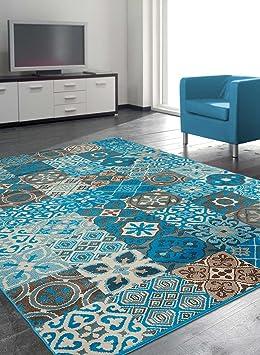 Unamourdetapis Tapis Moderne Carreaux De Ciment BC Faian Bleu, Marron,  Beige 140 X 200