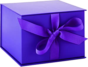 "Hallmark 7"" Purple Gift Box with Lid and Shredded Paper Fill for Easter, Mother's Day, Weddings, Graduations, Birthdays, Bridesmaids Gifts and More"