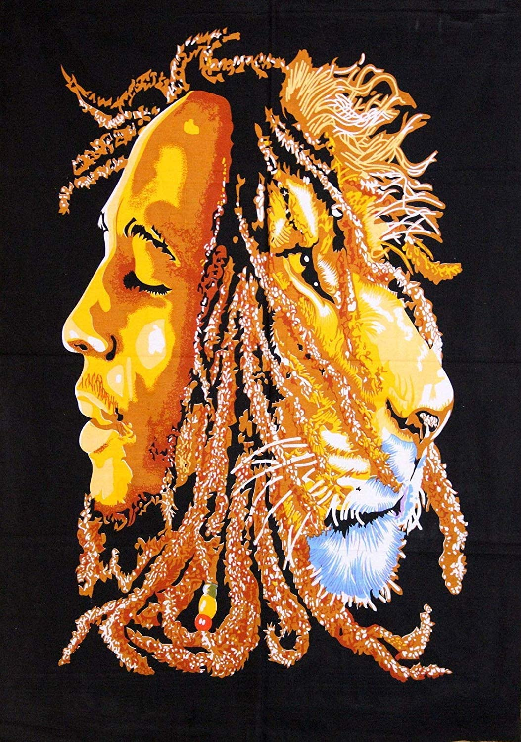 Craft N Copper Wall Hangings Poster 40 x 30 inches for Home Decoration & Wall Decoration (Lion-Bob Marley Black)