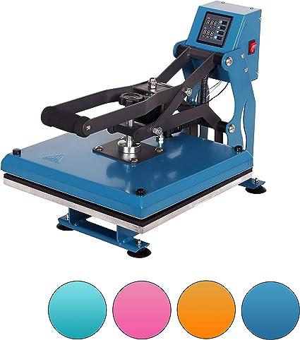 RICOO T338-AZ Transferpresse Textilpresse Textildruckpresse Klappbar Thermopresse Transferdruck B/ügelpresse Textil T-Shirtpresse Sublimationspresse f/ür Flexfolie und Flockfolie//Azur-Blau