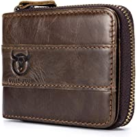 Leather Wallet, Andoer Genuine Leather Bifold Zipper Wallet for Men RFID Safe Travel Purse Pouch Gift