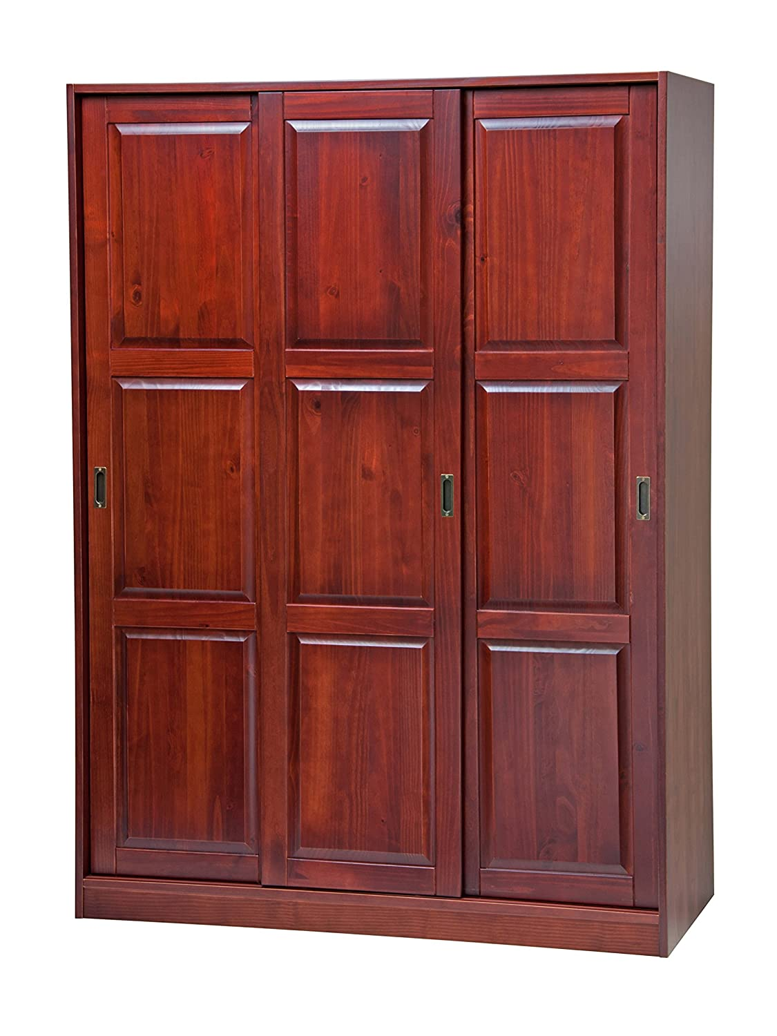 100% Solid Wood 3-Sliding Door Wardrobe/Armoire/Closet/Mudroom Storage by Palace Imports 5676 Java, 52' w x 72' h x 22.5' d. 1 Large/4 Small Shelves, 1 Rod Included. Extra Shelves Sold Separately 52 w x 72 h x 22.5 d. 1 Large/4 Small Shelves