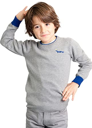 110d8b0a0 Dakomoda Toddler Boy's Cashmere Gray Wool Blend Crew Neck Sweater with Blue  Contrasts 2T