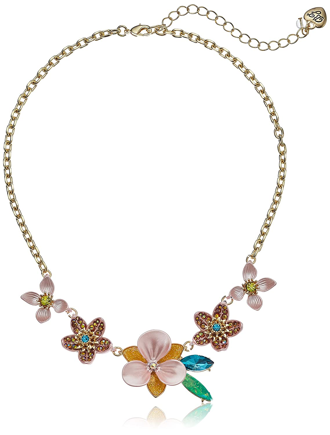 Betsey Johnson Paradise Lost Womens Pink and Yellow Flower Frontal Strand Necklace One Size GBG
