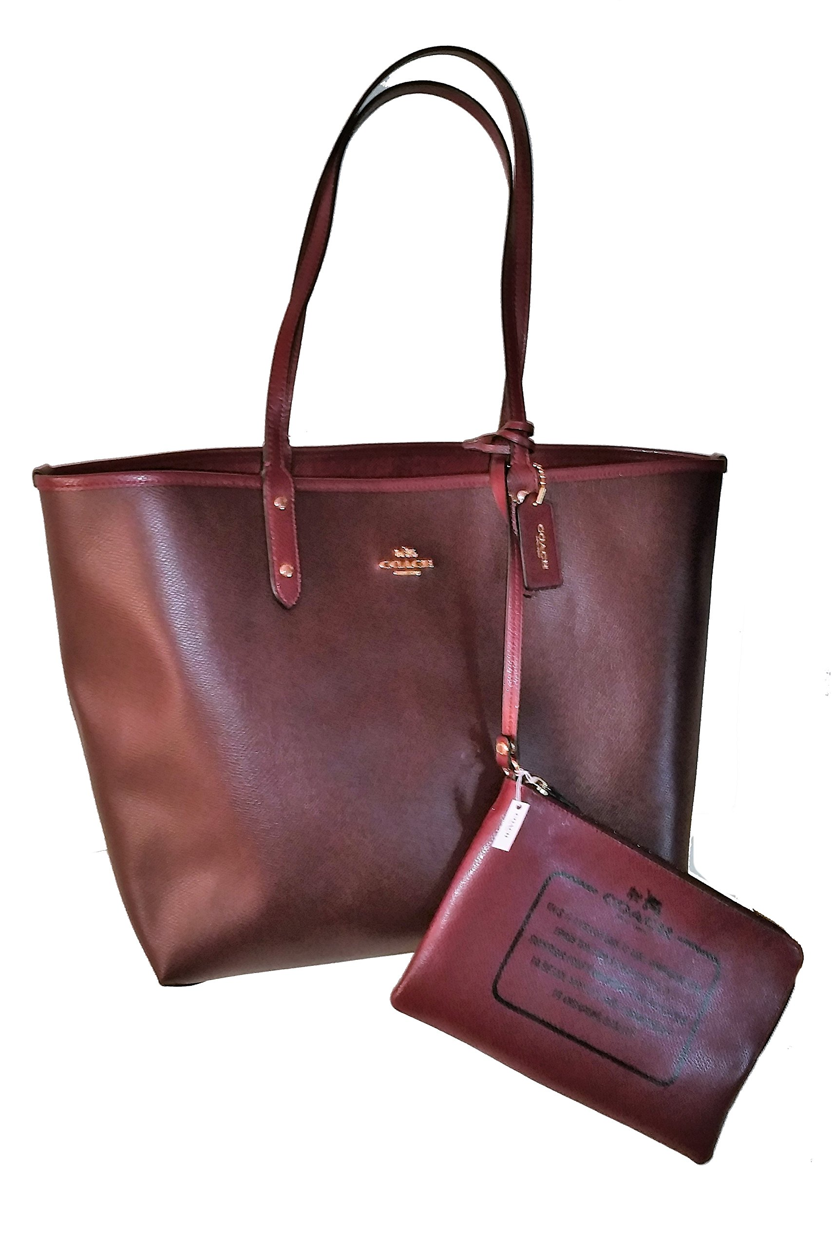 Coach Solid PVC Reversible City Signature Tote Handbag Oxblood, Burgundy
