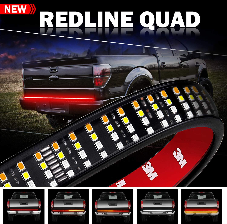 White Reverse Red Brake//Running Strobe Light for Trucks Pickup Jeep RV SUV VAN Dodge Ram Wayup 60 Inch Quad Row Tailgate LED Strip Truck Bed Light with Amber Turn Signal Tailgate Light Bar